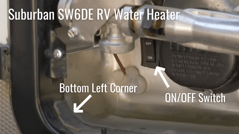 Suburban SW6DE RV Water Heater On and Off Switch Location